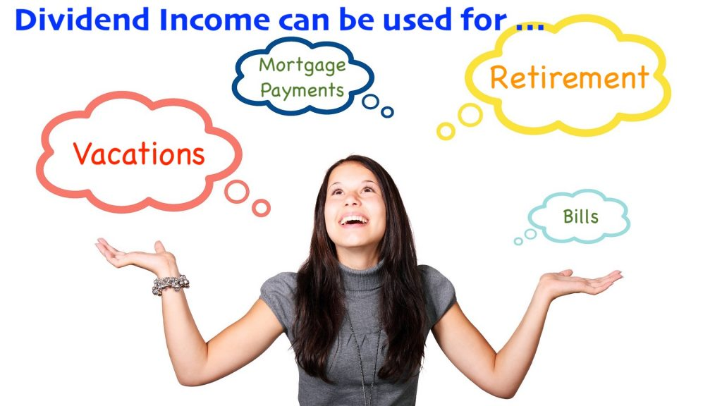 Graphic showing that dividend income can be used for vacations, retirement, and paying for bills and mortgage.