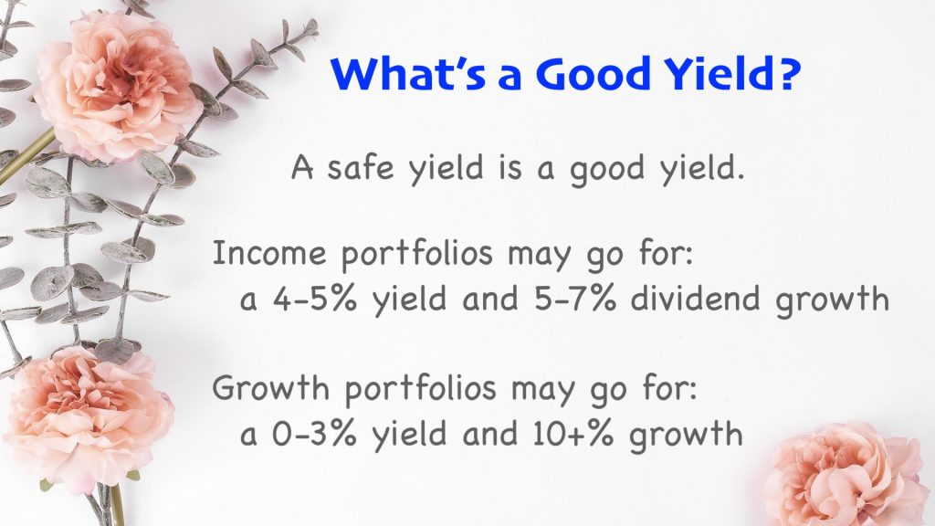 Slide describing that a good portfolio yield offers the income and income growth that you need.