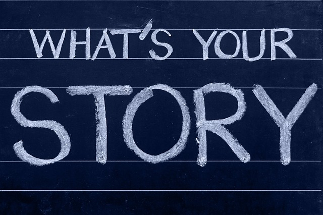 """What's your story"" written on a chalkboard."